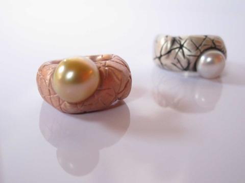 Prsten sperlou – růžové zlato